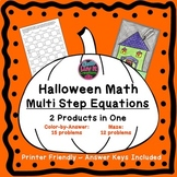 Halloween Fall Multi Step Equations Bundle Maze & Color by