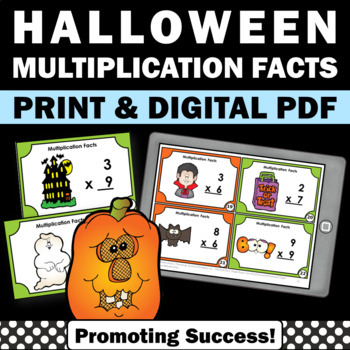 3rd Grade Halloween Math Activities, Multiplication Facts Task Cards SCOOT