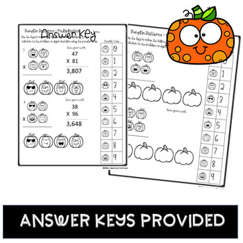 Pumpkin Math Multiplication Grade 4 and 5 Two Digit Multiply