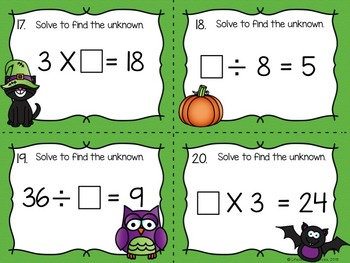 Halloween Math Game Multiplication and Division