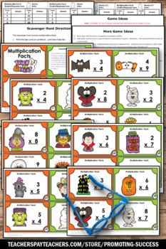 Halloween Math Activities 3rd Grade Multiplication & Division Task Cards BUNDLE