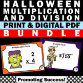 Halloween Math Activities 3rd Grade Multiplication & Division Task Cards BUNDLE