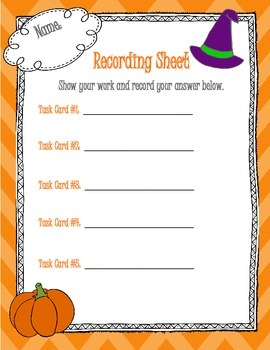 Halloween Math: Multiplication and Division as a Comparison Task Cards