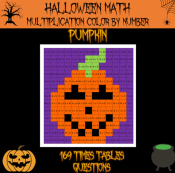 Halloween Math - Multiplication color by number Halloween mystery picture