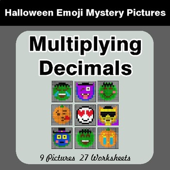 Halloween Math: Multiplying Decimals - Color-By-Number Math Mystery Pictures