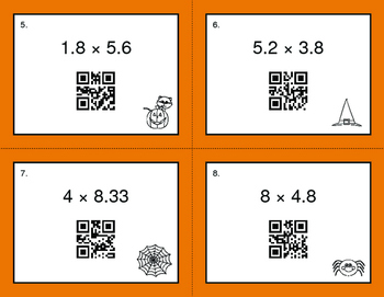 Halloween Math: Multiplying Decimals QR Code Task Cards