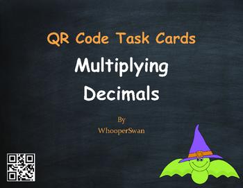 Halloween Math: Multiplying Decimals QR Code Task Cards