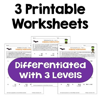 Halloween Multiplying Decimals Worksheets (Differentiated with 3 Levels)