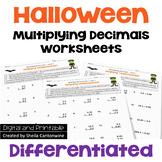 Halloween Math Multiplying Decimals Worksheets (Differentiated)