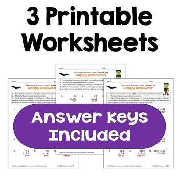 Halloween Math Multiplying Decimals Worksheets Differentiated
