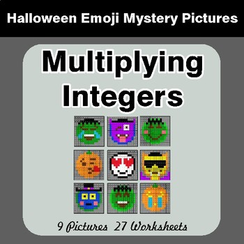 Halloween Math: Multiplying Integers - Color-By-Number Math Mystery Pictures