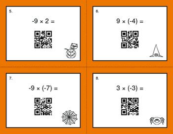 Halloween Math: Multiplying Integers QR Code Task Cards