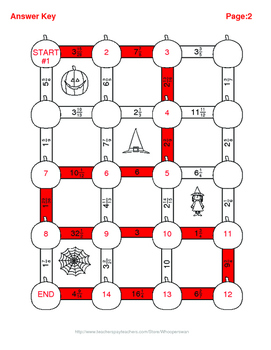 Halloween Math: Multiplying Mixed Fractions Maze