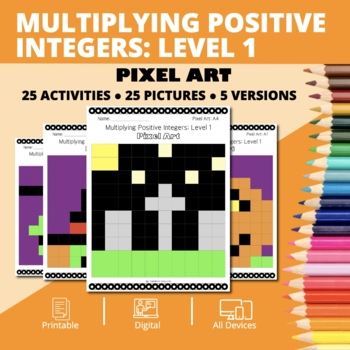 Halloween Math: Multiplying Integers #1 Pixel Art Mystery Pictures