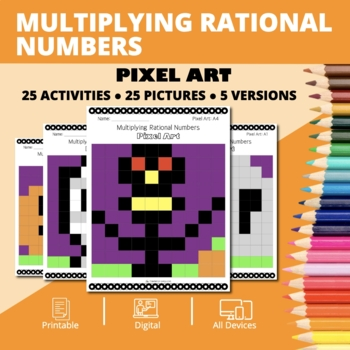 Halloween Math: Multiplying Rational Numbers Pixel Art Mystery Pictures