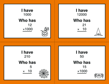 Halloween Math: Multiplying by Multiples of 10, 100, and 1000 - I Have, Who Has