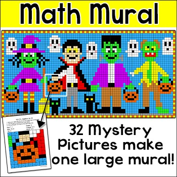 Halloween Math Mural Mystery Pictures - Differentiated Whole Class Activity