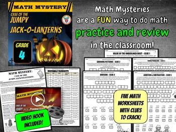 Halloween Math Mystery - 4th Grade Math Spiral Review (Jumpy Jack-O-Lanterns)