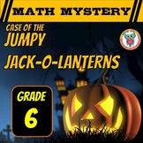 Halloween Math Mystery 6th Grade Spiral Review - Jumpy Jack-O-Lanterns CSI Math