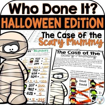 Halloween Activities Math Mystery Crack the Code - math skills review