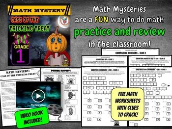 1st Grade Halloween Activity, Halloween Math Mystery Review