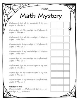 halloween math mystery numbers to 1000 place value activity by bradie molzan. Black Bedroom Furniture Sets. Home Design Ideas