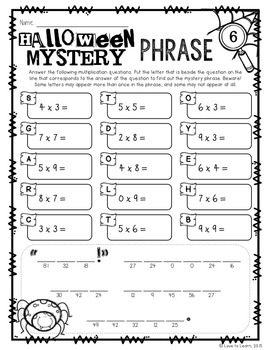 Halloween Math Mystery Phrases