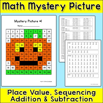 Halloween Math Jack 'o Lantern Mystery Picture - Place Value, Add & Subtract
