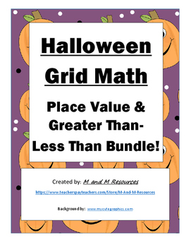 Halloween Math Mystery Pictures Bundle- Place Value and Greater Than/Less Than