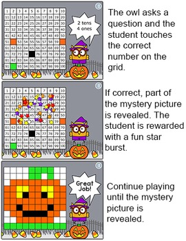 Halloween Math Mystery Pictures Game - Place Value, Addition and Subtraction
