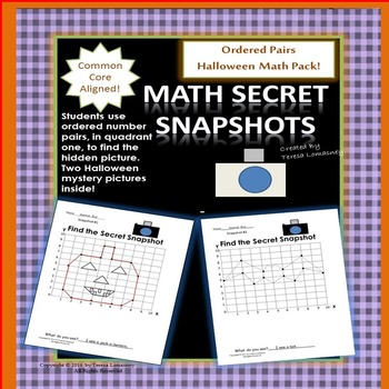 Halloween Math Mystery Pictures Ordered Pairs Quadrant One Bat and Pumpkin