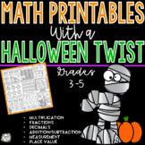 Halloween Math - No Prep Halloween Worksheets