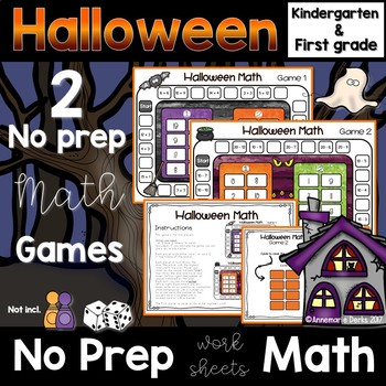 Halloween Math -No Prep- Kindergarten and 1st Grade Worksheets