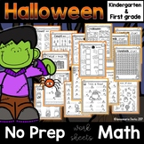 Halloween Math -No Prep- Kindergarten and 1st Grade Worksheets