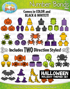 Halloween Math Number Bonds Clipart {Zip-A-Dee-Doo-Dah Designs}