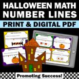 Halloween Math Kindergarten Games, Number Line Task Cards, 1st Grade Math Center