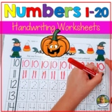 Number Writing Practice 1-20 Worksheets Halloween Math