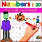 Number Writing Practice 1-20 Worksheets Halloween October Math