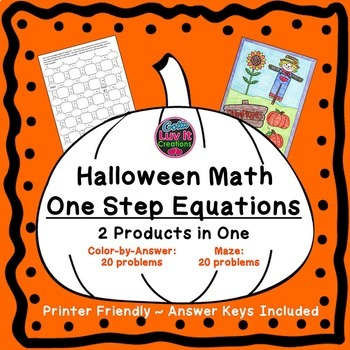One Step Equations Halloween Fall Bundle Maze & Color by Number Coloring Page