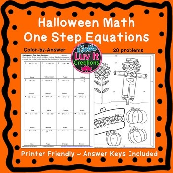 Math Color by Number Solving One Step Equations Fall Activities