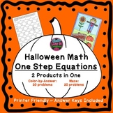 One Step Equations Halloween Fall Bundle Maze & Color by N