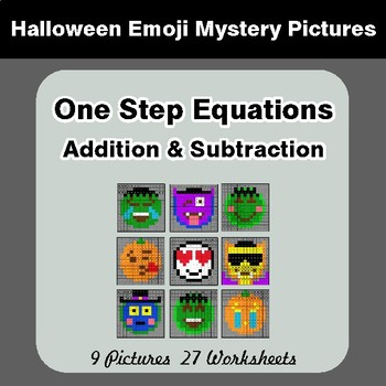 Halloween Math: One Step Equations Addition & Subtraction - Math Mystery Pictures