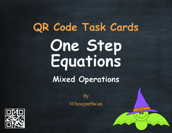 Halloween Math: One Step Equations (Mixed Operations) QR Code Task Cards