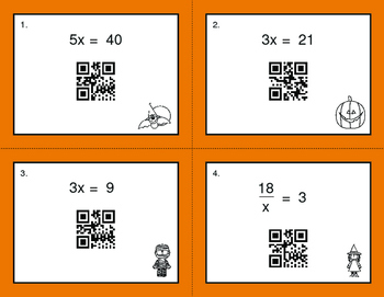 Halloween Math: One Step Equations (Multiplication & Division) QR Task Cards