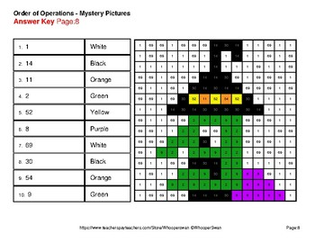 Halloween Math: Order of Operations - Color-By-Number Mystery Pictures