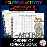 Halloween Math Order of Operations Coloring Activity (2 Differentiated Levels)