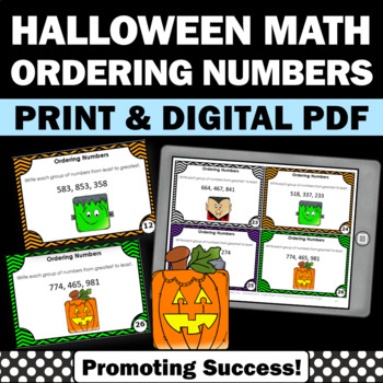 Halloween Math Centers, Ordering Numbers Task Cards, Halloween SCOOT