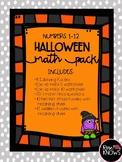 Halloween Activities Math Pack Numbers 1-12