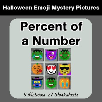Halloween Math: Percent of a Number - Color-By-Number Mystery Pictures