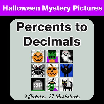Halloween Math: Percents to Decimals - Color-By-Number Mystery Pictures